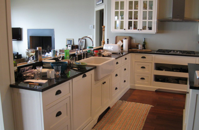 custom cabinets and overhanging sink